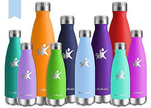 KollyKolla Vakuum Isolierte Edelstahl Trinkflasche, 500ml BPA Frei Wasserflasche Auslaufsicher, Thermosflasche für Sport, Outdoor, Fitness, Kinder, Schule, Kleinkinder, Kindergarten (Macaron Blau)