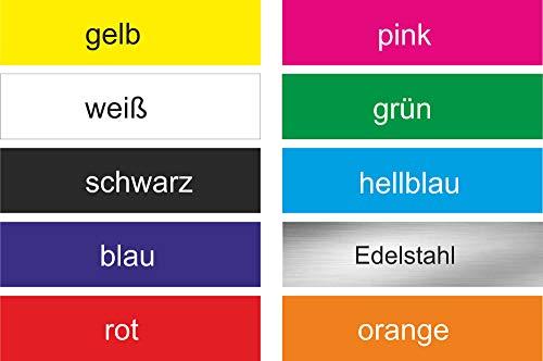INDIGOS UG - 2X Klingelschild selbstklebend 60x15mm - Briefkastenschild Klingelschild Aufkleber - Witterungsbeständig - Firma, Haus, Klingel