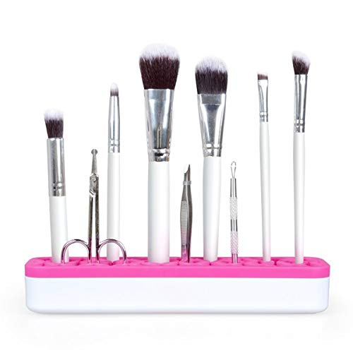HaiQianXin Make-up Brush Organizer/Houder Lip Gloss Lipstick Houder Case Siliconen Nagellak Houder Professionele Cosmetische Display Box (Kleur : Rose White)