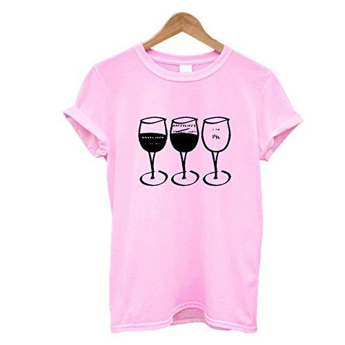 Copa de vino impresión camiseta de las mujeres de manga corta O cuello suelto mujeres camiseta de verano camiseta Tops ropa - rosa - X-Large