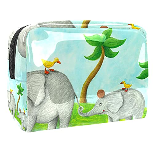 Bolso del Maquillaje de Las Mujeres, Prenda Impermeable del Neceser del Viaje del almacenamientoMamá y bebé Elefante para Viajes, Organizadora de cosméticos
