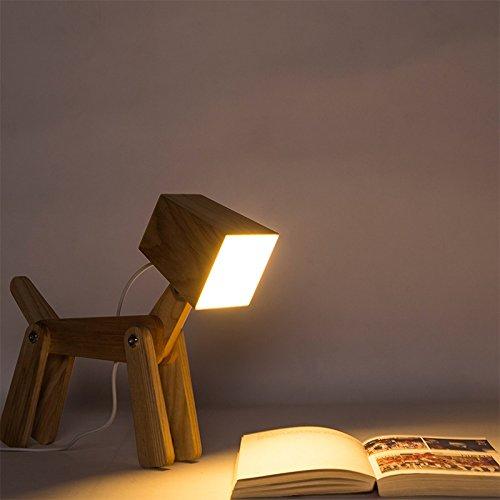 Vinteen Mignon en bois chien Design Réglable Dimmable Table de chevet Light Touch Control 6W Pour Chambre Nord Européen Style En Bois massif Log Chambre Art Bedside Table Lampe Bureau Lumière