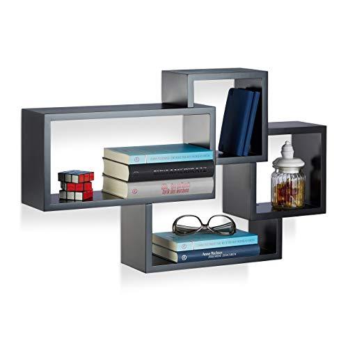Relaxdays Wandregal Cube, 4 Fächer, Freischwebend, Modernes Design, Dekorativ, Belastbar, MDF, HBT: 42x69x12cm, Schwarz