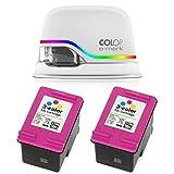 COLOP - Dispositivo di marcatura elettronica e-Mark e due cartucce di inchiostro 153562 Bundle/timbro digitale e due cartucce di inchiostro multicolore/stampa mobile