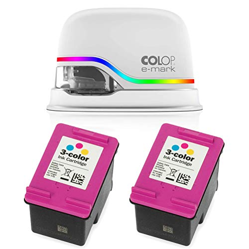 COLOP e-Mark Electronic Marking Device and Two 153562 Ink Cartridges Bundle/Digital Stamp and Two Multicolored Ink Cartidges/Mobile Printing