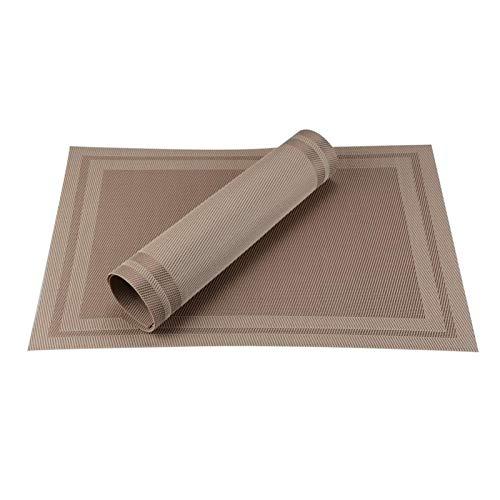 NJS Conjunto de 4 PVC bambú manteles de plástico for el Comedor de Mesa sábanas Estera de Lugar situado en Accesorios de Cocina Taza del Vino Mat (Color : B Coffee, Talla : Set of 6)