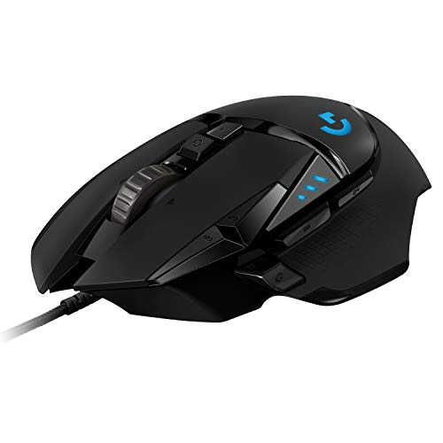 Logitech G502 HERO Ratón Gaming con Cable Alto Rendimiento, Captor HERO 25K, 25,600 DPI, RGB, Peso Personalizable, 11 Botones Programables, Memoria Integrada, PC/Mac, Negro