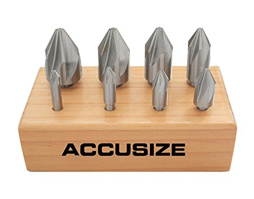 Accusize Industrial Tools 60 Degree 6 Flute H.S.S. Machine Countersink, 8 Pcs, Precision Ground, 0206-0010