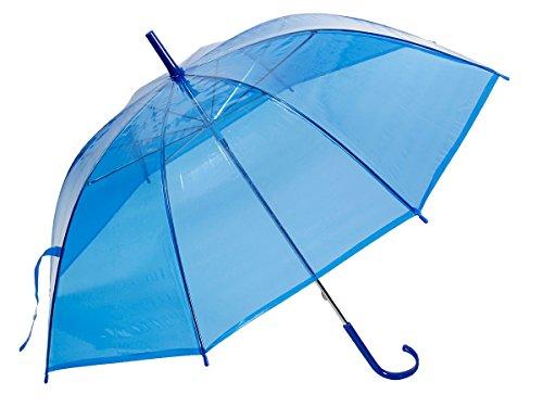 Alsino Stockschirm Stock transparent Regenschirm City Schirm Langschirm mit Griff, 61/1885 blau