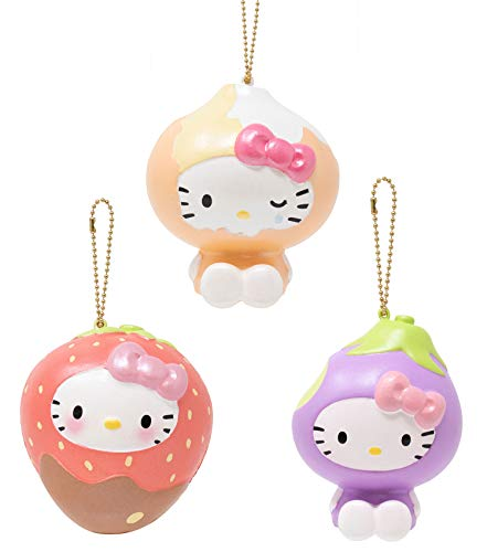 Sanrio Hello Kitty Fruit and Veggie Slow Rising Cute Squishy Toy Keychain (Choco Dip Strawberry, Onion, Eggplant, 3 Piece Set) Birthday Gifts, Party Favors, Stress Balls for Kids, Boys, Girls