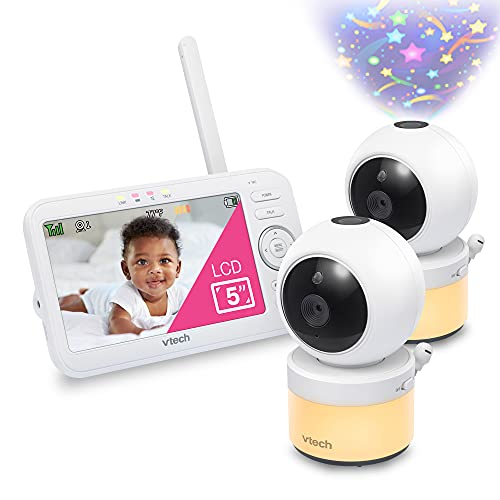 VTech VM5463-2 Video Baby Monitor with 5' Screen, Pan Tilt Zoom, Sound Activated Night Light and Vision, Glow on The Ceiling Projection, Multiple Viewing Options, 2 Cameras
