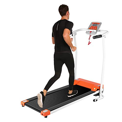 Aceshin Treadmill for Walking, Folding Treadmills for Small Spaces, Motorized Fitness Compact Running Equipment with LCD for Home (White) (Orange)