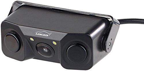 Lescars Rückfahrkameras: Farb-Rückfahrkamera & Einparkhilfe m. Abstandswarner, LED-Ausleuchtung (Rückwärtskamera)