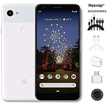 """Newest Google Pixel 3a 5.6"""" 64GB Memory Cell Phone Unlocked Android Smartphone - Clearly White, AT&T/T-Mobile/Verizon W/Valued 69.99 Mobile Phone 7in1 Accessories"""