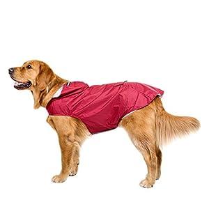 BONAWEN Reflective Dog Rain Coat with Pouch/Leash Hole for Medium,Large,Extr Large Dogs