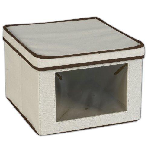 Household Essentials 512 Vision Storage Box - Natural Canvas with Brown Trim - Medium