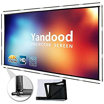 Portable Projector Screen 120 inch Foldable Silver Black Backing Projection Screen with 4 Sides Pole Support