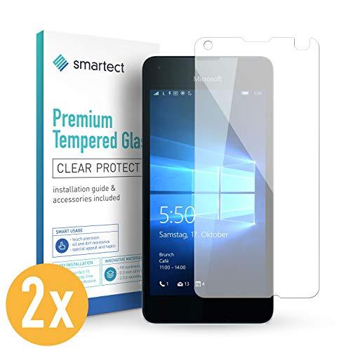 smartect Panzerglas kompatibel mit Microsoft Lumia 550 [2 Stück] - Bildschirmschutz mit 9H Festigkeit - Blasenfreie Schutzfolie - Anti Fingerprint Panzerglasfolie