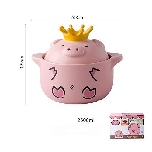 Cartoon Casserole,keramik Süße Krone Schwein Stockpot, Mini Porridge Milch Topf Nahritious Suppe Kreativer Topf Für Kinder Babymahlzeit Suppe-d