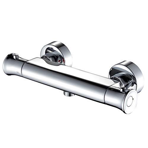 Thermostat Brausebatterie -kisimixer Mischbatterie für Dusche, Wandmontage Duscharmatur Wannenarmatur mit 38 °C Sicherheitstaste (für 1 Funktion) Chrom