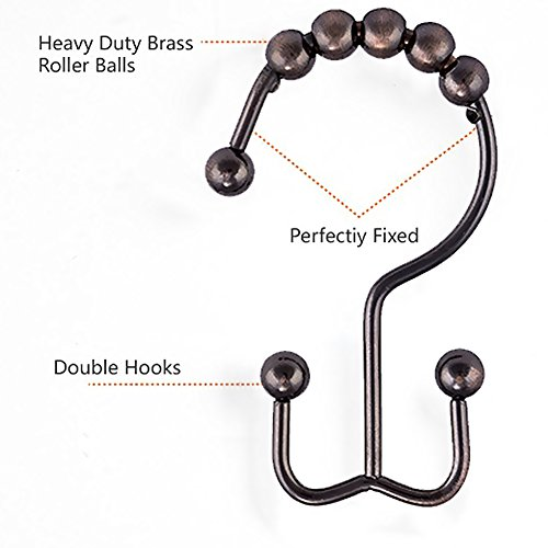 Cosfy 100% Stainless Steel Rust Proof Shower Curtain Rings with Double Hooks Set of 12 (Bronze)