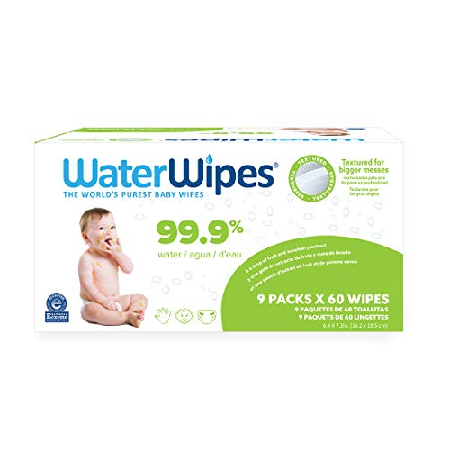 WaterWipes Textured, Sensitive, Unscented Baby and Toddler Soapberry Wipes, 9 Packs (540 Wipes)