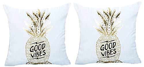 2 fyrkantiga kuddöverdrag – dekorativ kudde – 44 x 44 cm – soffa – linne – hem – säng – möbler – sovrum – frukt – ananas – guldtryck – bra vibrationer – vit – presentidé