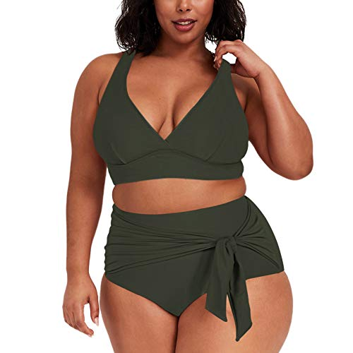 Pink Queen Women Plus Size 2 Piece Bathing Suit High Waisted Bandage Swimsuit Swimwear Army Green 2XL