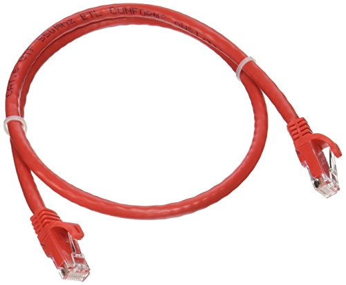 Monoprice Flexboot Cat6 Ethernet Patch Cable - Network Internet Cord - RJ45, Stranded, 550Mhz, UTP, Pure Bare Copper Wire, 24AWG, 2ft, Red