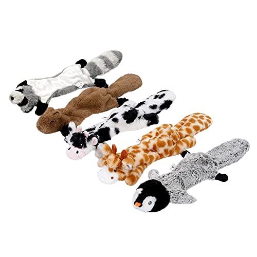 Iokheira 5-Paquetes de Juguetes Chillones para Perros de , Juguete Sin Relleno para Perros Pequeños Medianos y Grandes, Set de Juguetes de Peluche Suave y Duradero para Perros, Regalos para Cachorros