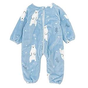 DEBAIJIA Bebé Mameluco 0-2T Infantil Peleles Recién Nacido Monos Niños Camisones Niña Pijama Niño Ropa de Dormir Franela Unisexo (Azul-M)