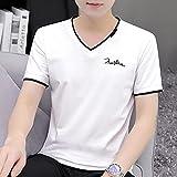 Leftroad Camisetas Básicas de Manga Corta para Hombre,Camiseta de Manga Corta con Cuello en V de Verano para Hombre-White_M #,Camiseta de Hombre cómoda y Seca