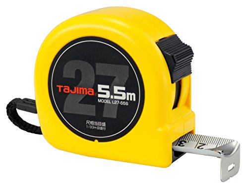 タジマ(Tajima) コンベックス 剛厚テープ5.5m×27mm ロック27 尺相当目盛付 L27-55SBL