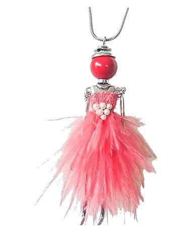 Kette Halskette Lange Kette Brosche 2 in 1 mit Anhänger Puppe Dame Frau Kleid Feder Tasche Koralle