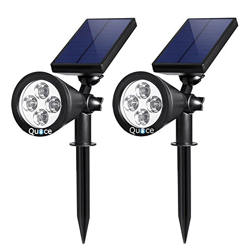 Quace Upgraded Solar Lights Pack of 2 Waterproof Outdoor Landscape Lighting Spotlight/Wall Light Auto On/Off for Yard Garden Driveway Pathway Pool