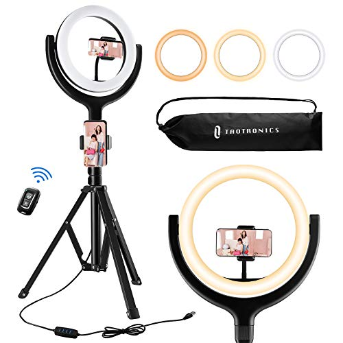 "TaoTronics 10"" Selfie Ring Light with 61'' Tripod Stand 2 Phone Holders and Bluetooth Remote Control, Dimmable Led Camera Ring Light for Live Streaming, YouTube, Video, Make Up, Photography"