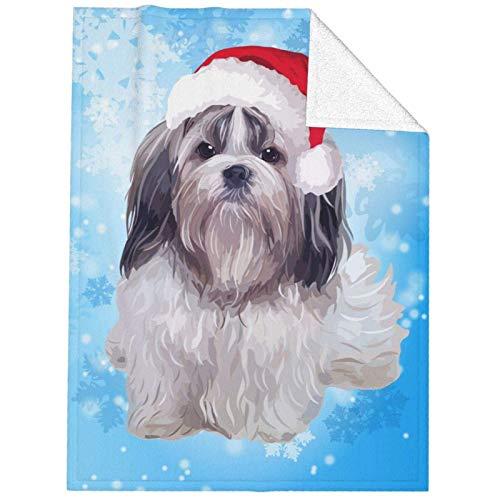 Manta De La Siesta Felpa Sofás Franela Perro Shih Tzu de Navidad Buen sueño L127cm x W102cm