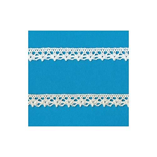 PIZZITALIANI LACES & RIBBONS SINCE 1953 Nastro Pizzo Bianco per Decorazioni Sartoria Cucito Merletto a Tombolo Passamaneria Altezza Cm.1 Confezione Mt.10 Art.1715