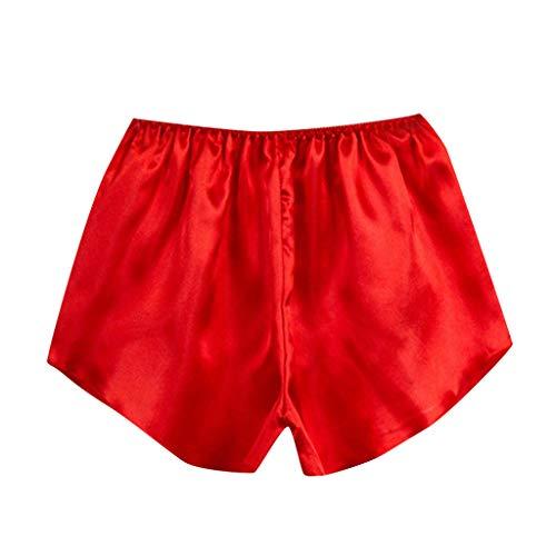 QHJ Negligee Sexy, Nachthemd Damen Sexy Damenmode Satin Nachtwäsche Dessous Schlafanzughose Frauen Boxershorts (Rot, One Size)