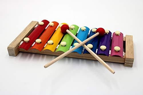 Wonderful Voice Holz Xylophon | Holzinstrument | Kinderinstrument | Spielzeuginstrument mit 8 bunten Klangplatten | Glockenspiel