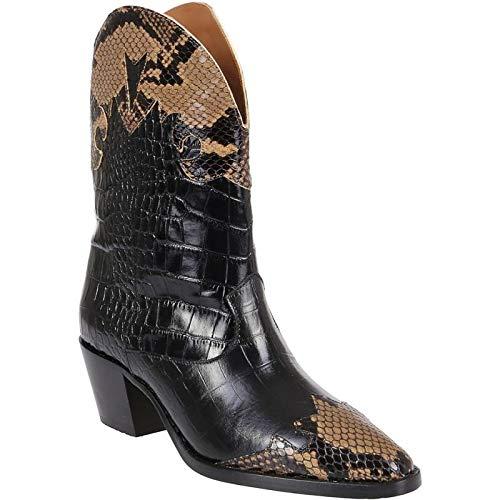 Dames Enkel Laarzen Puntschoen Leather Lage Hak Laarsjes Ga Naar De Get Together Prom Herfst Winter Mode Laarzen,Black,38 EU