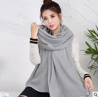 Bullidea Unisex Adult Winter Long Warm Scarf Handmade Knitted Neck Scarf Shoulder Wrap Solid Color Elegant Design Soft and Comfortable(light gray)