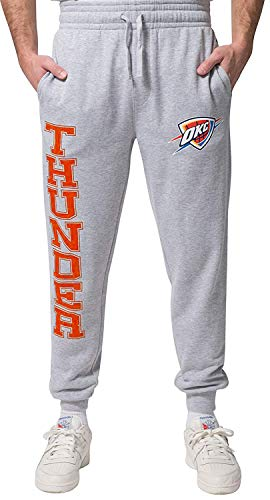 Ultra Game NBA Oklahoma City Thunder Mens Basic Soft Terry Jogger Pants, Right Leg Logo, Medium