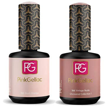 Pink Gellac Shellac Gel Nagellack 2er Set 30 ml für UV LED Lampe | 105 Blush Orange Rosa 15 ml + 166 Vintage Nude Rosa Rose 15 ml Gel Nail Polish for UV Nail Lamp