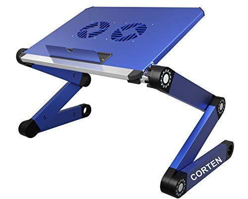 Supporto portatile ergonomico da tavolo per computer portatile, vassoio pieghevole per letto divano completamente regolabile in altezza e angolo con ventole USB per il lavoro da casa
