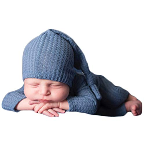 Fashion Cute Newborn Boys Girls Baby Photo Shoot Props Outfits Crochet Clothes Long Tail Hat Romper Photography Props (Olan)