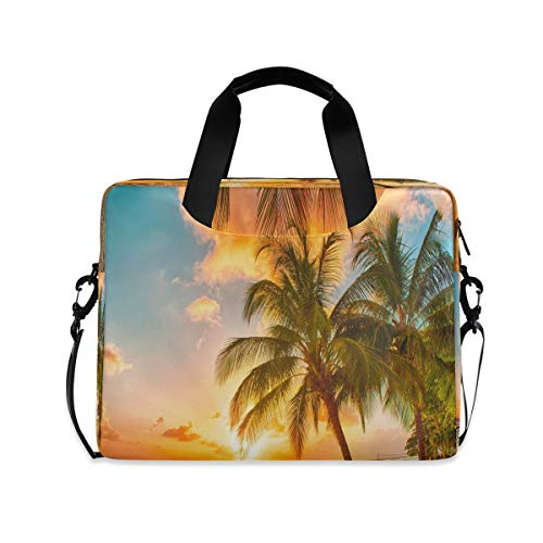 ALARGE Laptop Case Sleeve Ocean Beach Palm Tree Sunset 15-16 inch Briefcase Travel Tote Messenger Notebook Computer Crossbody Bag with Strap Handle for Women Men