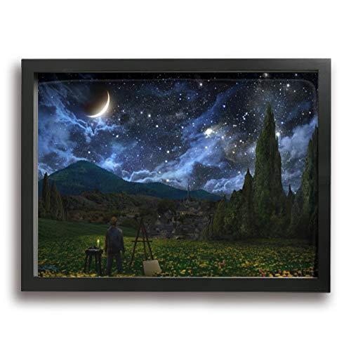 Olverz Starry Sky In The Winter Forest - Cuadro enmarcado (40,6 x 30,4 cm), diseño de abeto en el bosque invernal