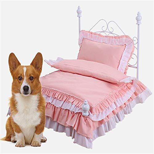 BABIFIS El Invierno Caliente Princesa Cama del Animal doméstico del Perro del Oso de Peluche pequeño Perrera del Gato de la Perrera Cama de Hierro Desmontable y Lavable A L
