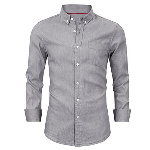 SSBZYES Camisas para Hombres Camisas de Mezclilla de Manga Larga para Hombres Camisas de Fondo para Hombres Camisas de Manga Larga para Hombres de Negocios Camisas Informales para Hombres